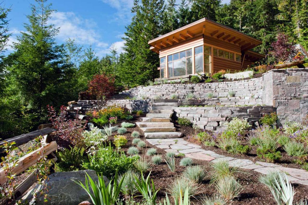 Natural stone steps and dry stack walls