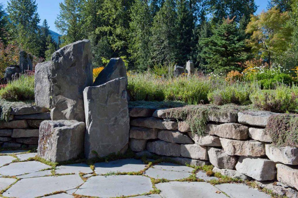 Dry stack basalt rock wall